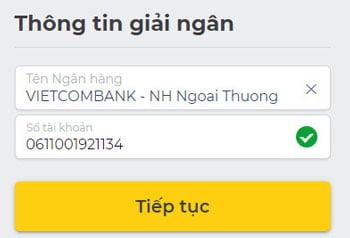 điền tài khoản ngân hàng giải ngân