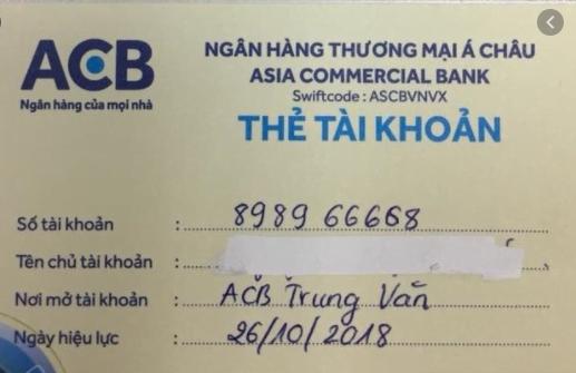 Minh họa số tài khoản ngân hàng acb