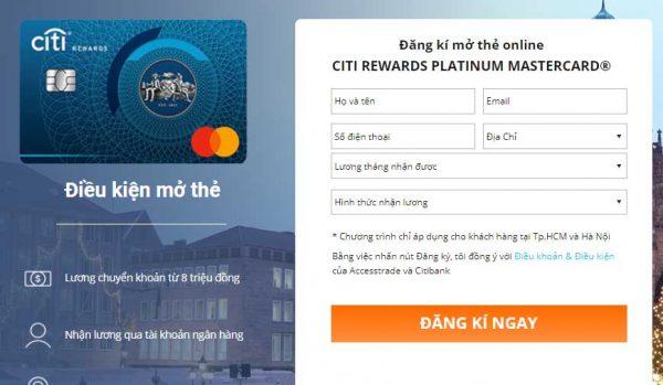 Đăng ký mở thẻ td Citibank online