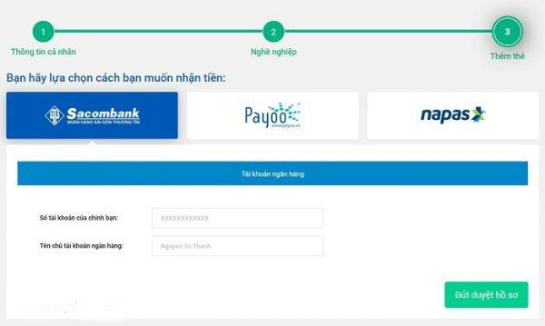 Điền thông tin tài khoản ngân hàng để giải ngân