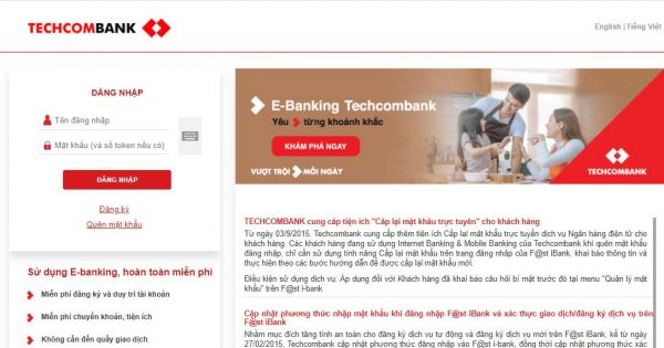 Dịch vụ Internet Banking Techcombank hiện nay