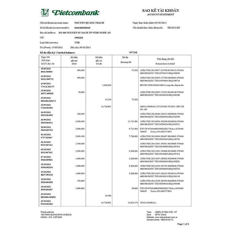 Sao kê tài khoản Vietcombank