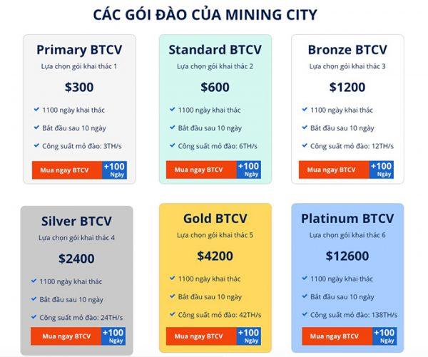 Các gói đầu tư của Mining City