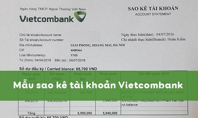 mẫu giấy đề nghị in sao kê ngân hàng vietcombank