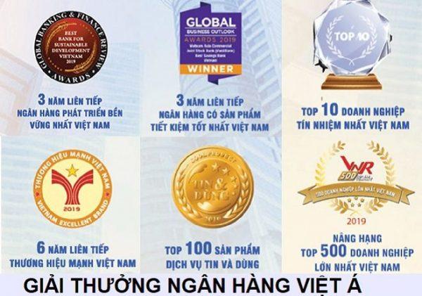 Những giải thưởng của ngân hàng Việt Á