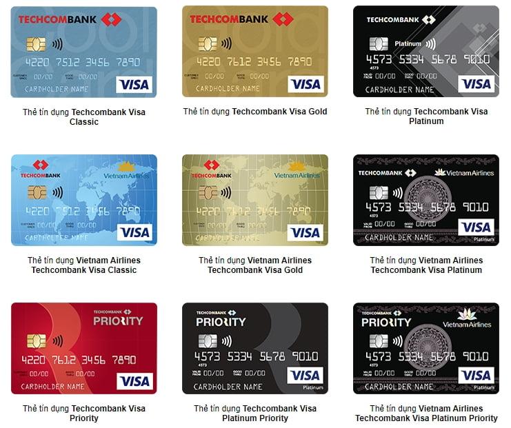 Các loại thẻ của Techcombank