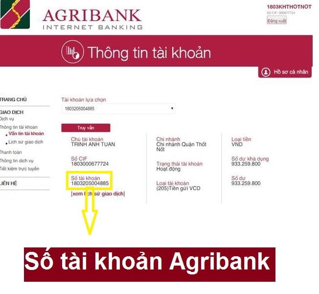 Số tài khoản Agribank