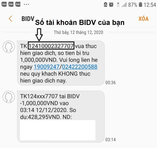 Số tài khoản BIDV có bao nhiêu số?