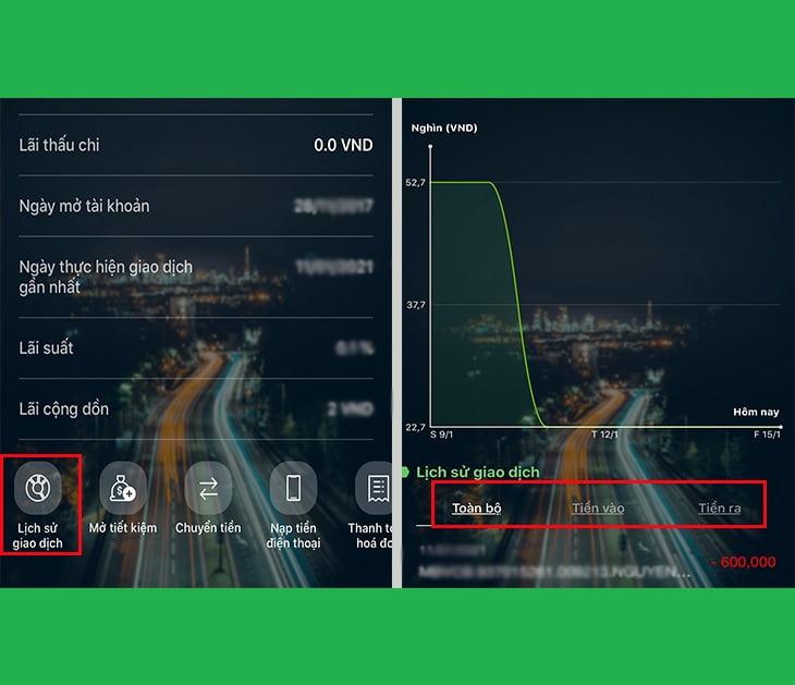 Xem lịch sử giao dịch Vietcombank trên app