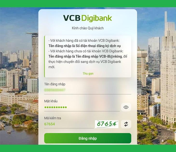 Xem lịch sử giao dịch Vietcombank trên máy tính