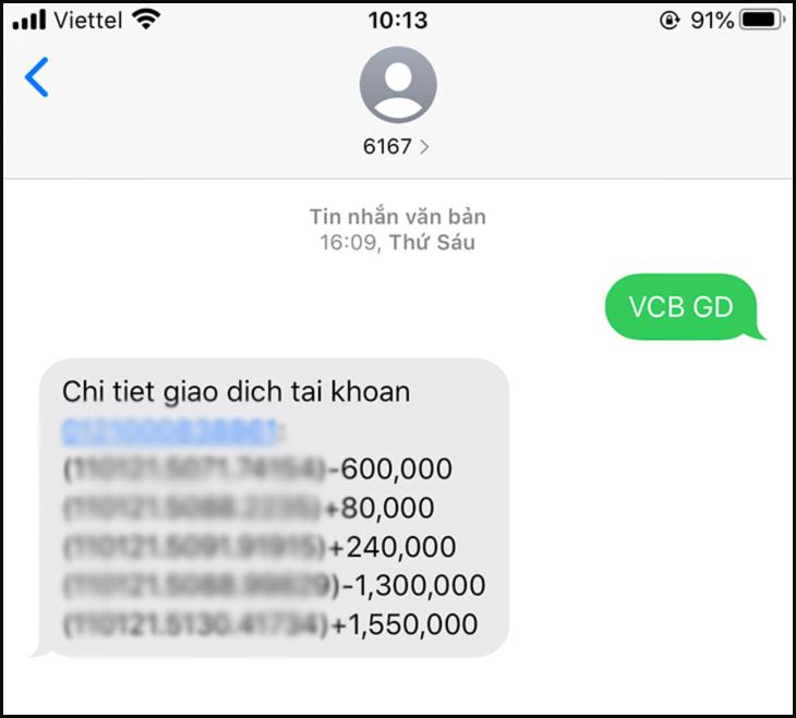 Xem lịch sử giao dịch Vietcombank qua VCB-SMS B@NKING