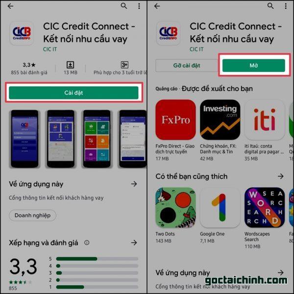 Cài đặt App CIC trên điên thoại di động để kiểm tra nợ xấu