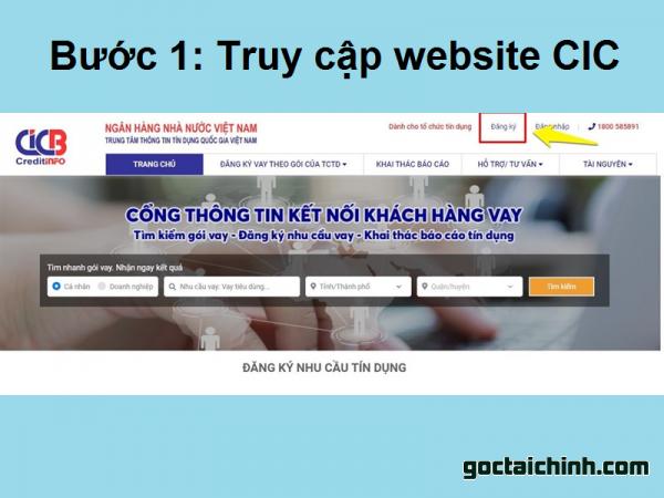 Bước 1: Truy cập webssite CIC để kiểm tra nợ xấu