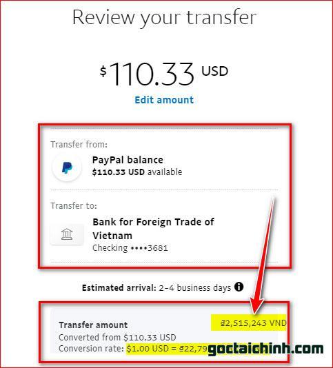 rút tiền payal về vietcombank